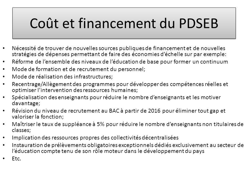 Coût et financement du PDSEB • Nécessité de trouver de nouvelles sources publiques de financement et de nouvelles stratégies de dépenses permettant de