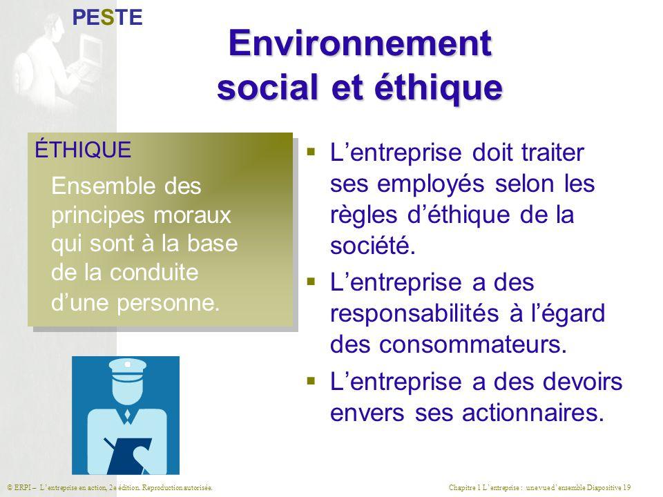 Chapitre 1 L'entreprise : une vue d'ensemble Diapositive 19© ERPI – L'entreprise en action, 2e édition. Reproduction autorisée. Environnement social e