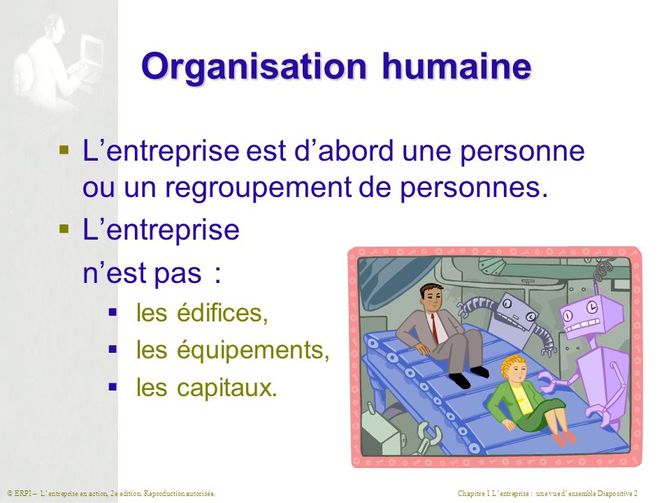 Chapitre 1 L'entreprise : une vue d'ensemble Diapositive 2© ERPI – L'entreprise en action, 2e édition. Reproduction autorisée. Organisation humaine 