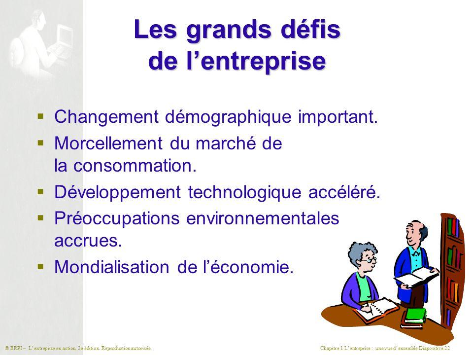 Chapitre 1 L'entreprise : une vue d'ensemble Diapositive 22© ERPI – L'entreprise en action, 2e édition. Reproduction autorisée. Les grands défis de l'