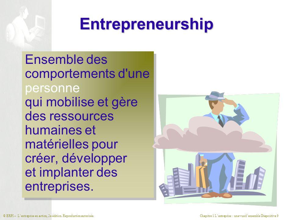 Chapitre 1 L'entreprise : une vue d'ensemble Diapositive 9© ERPI – L'entreprise en action, 2e édition. Reproduction autorisée. Entrepreneurship Ensemb