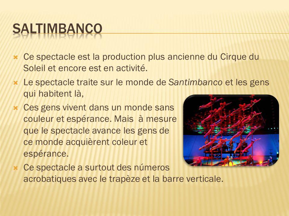  Ce spectacle est la production plus ancienne du Cirque du Soleil et encore est en activité.  Le spectacle traite sur le monde de Santimbanco et les