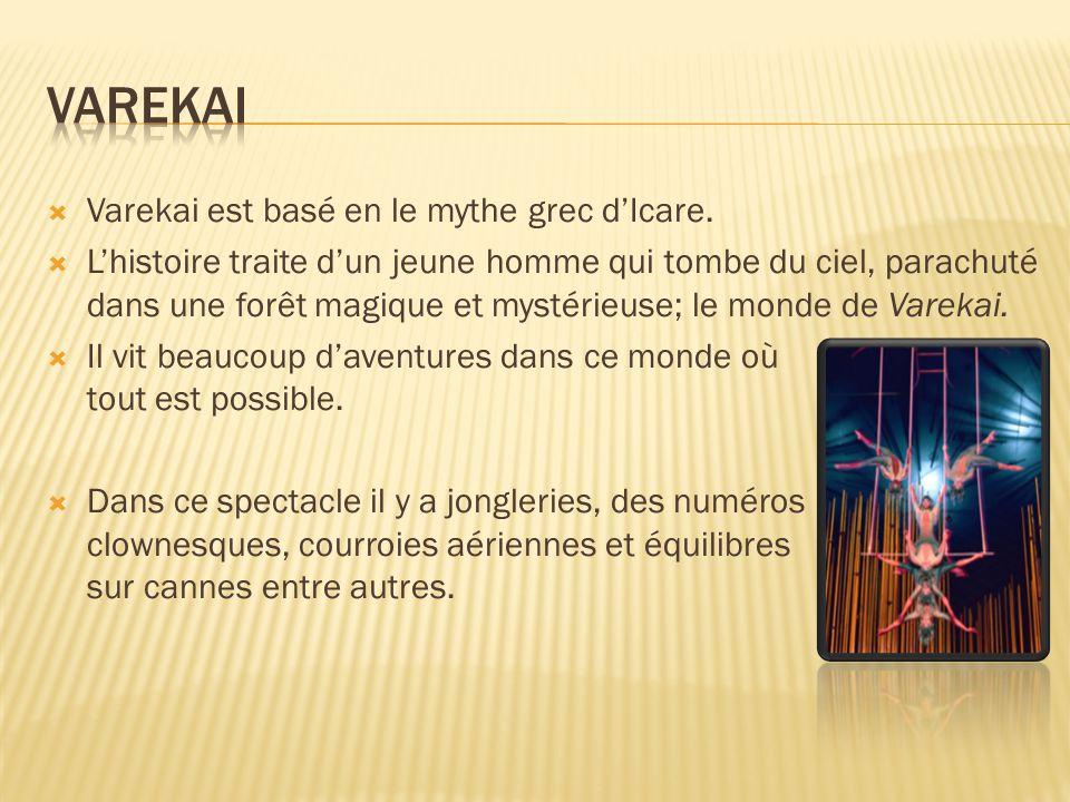  Varekai est basé en le mythe grec d'Icare.  L'histoire traite d'un jeune homme qui tombe du ciel, parachuté dans une forêt magique et mystérieuse;