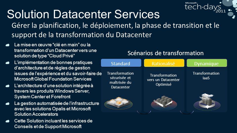 Solution Datacenter Services Gérer la planification, le déploiement, la phase de transition et le support de la transformation du Datacenter La mise e