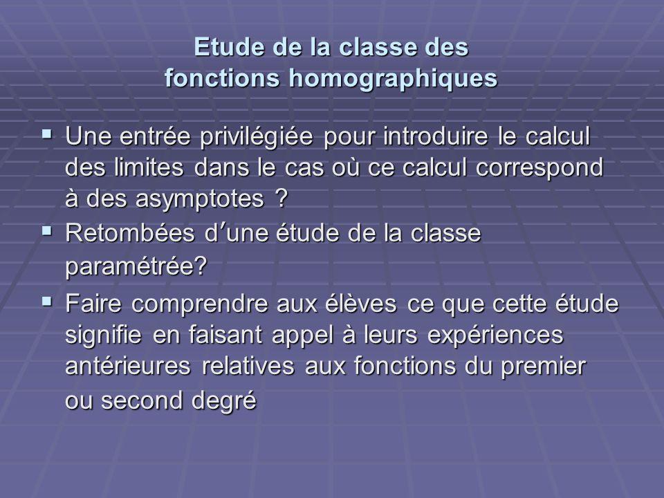 Etude de la classe des fonctions homographiques  Une entrée privilégiée pour introduire le calcul des limites dans le cas où ce calcul correspond à des asymptotes .