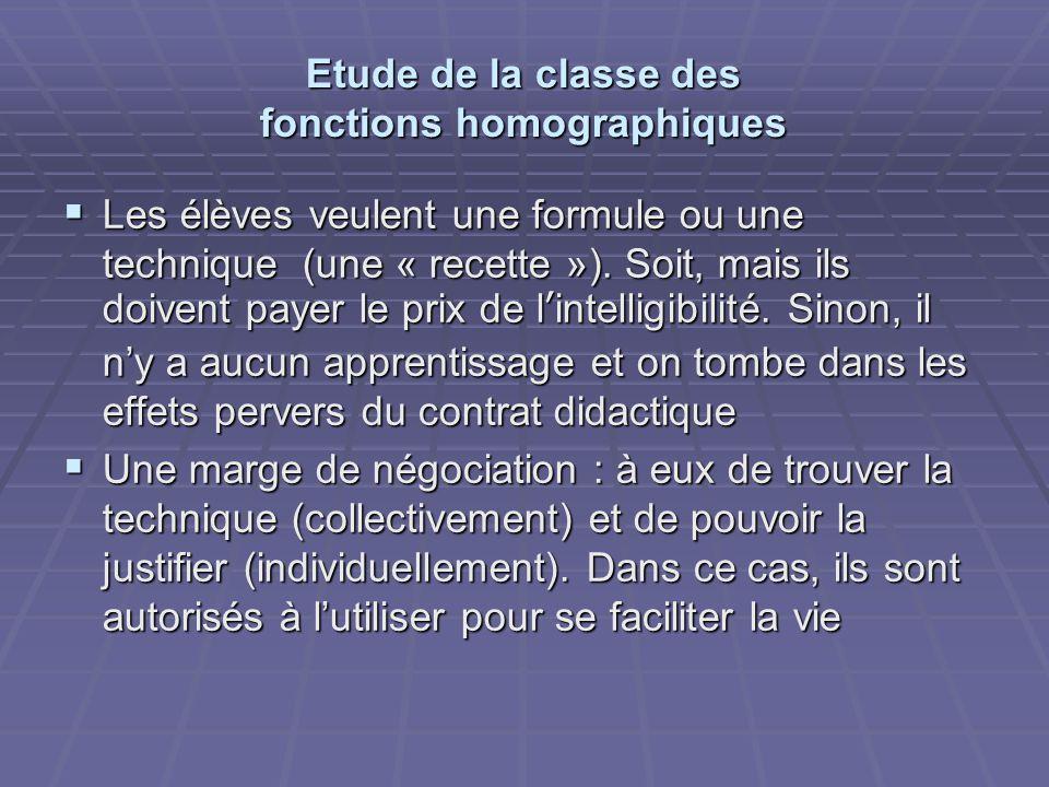 Etude de la classe des fonctions homographiques  Les élèves veulent une formule ou une technique (une « recette »).