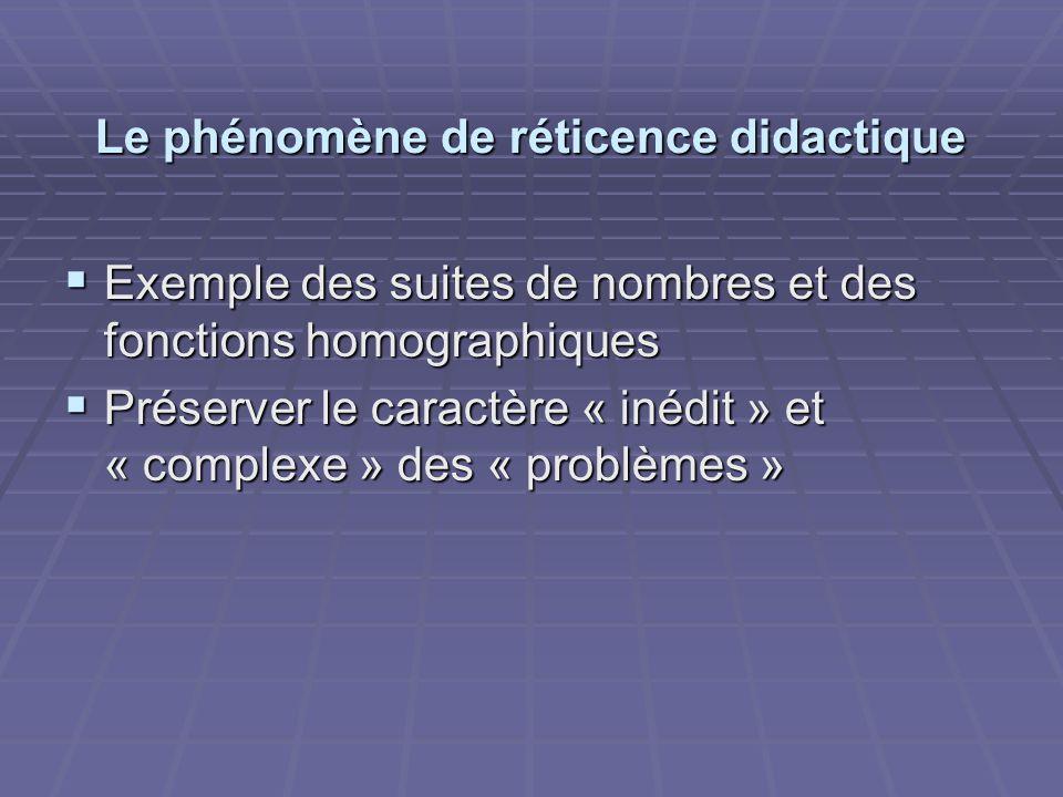 Le phénomène de réticence didactique  Exemple des suites de nombres et des fonctions homographiques  Préserver le caractère « inédit » et « complexe » des « problèmes »
