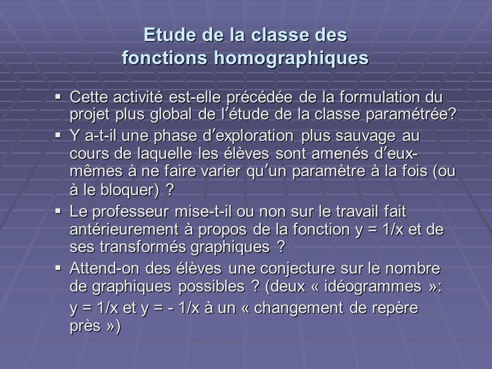 Etude de la classe des fonctions homographiques  Cette activité est-elle précédée de la formulation du projet plus global de l'étude de la classe paramétrée.