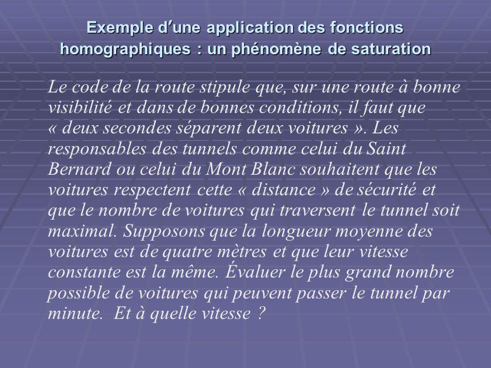 Exemple d'une application des fonctions homographiques : un phénomène de saturation Le code de la route stipule que, sur une route à bonne visibilité et dans de bonnes conditions, il faut que « deux secondes séparent deux voitures ».