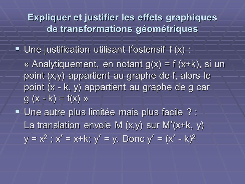 Expliquer et justifier les effets graphiques de transformations géométriques  Une justification utilisant l'ostensif f (x) : « Analytiquement, en notant g(x) = f (x+k), si un point (x,y) appartient au graphe de f, alors le point (x - k, y) appartient au graphe de g car g (x - k) = f(x) »  Une autre plus limitée mais plus facile .