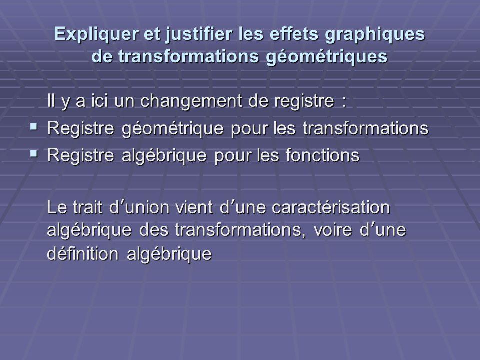 Expliquer et justifier les effets graphiques de transformations géométriques Il y a ici un changement de registre : Il y a ici un changement de registre :  Registre géométrique pour les transformations  Registre algébrique pour les fonctions Le trait d'union vient d'une caractérisation algébrique des transformations, voire d'une définition algébrique
