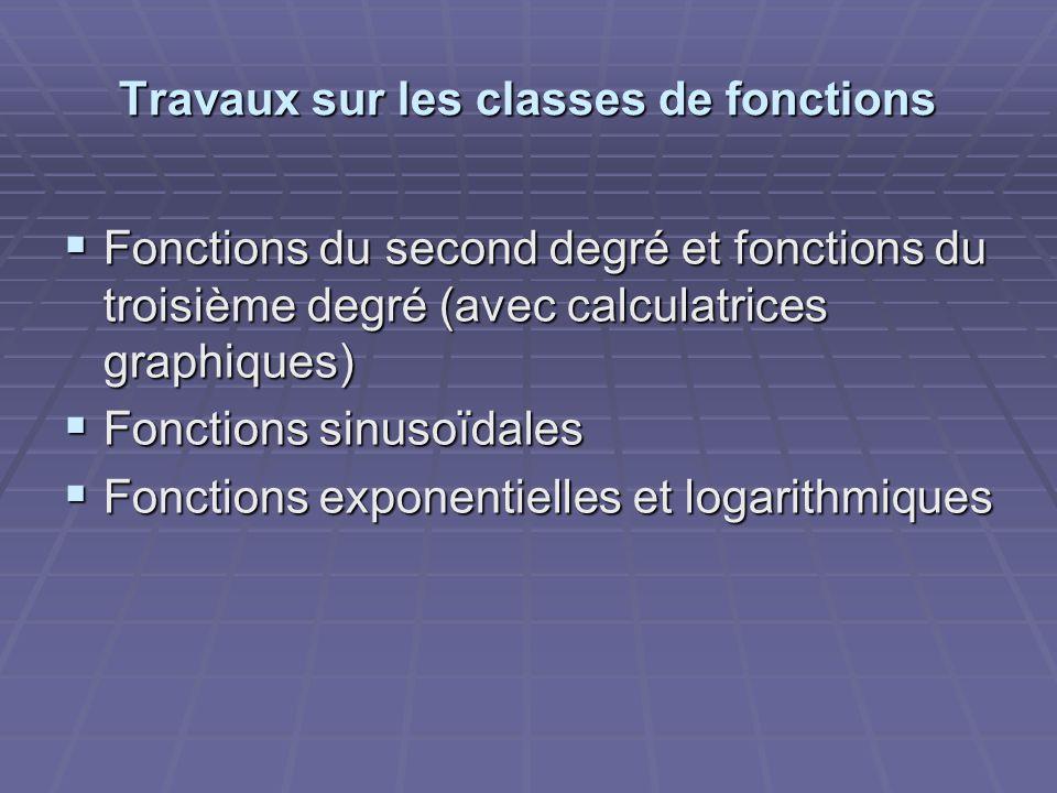 Travaux sur les classes de fonctions  Fonctions du second degré et fonctions du troisième degré (avec calculatrices graphiques)  Fonctions sinusoïdales  Fonctions exponentielles et logarithmiques