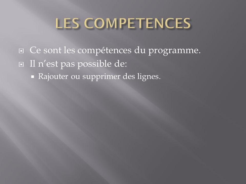  Ce sont les compétences du programme.  Il n'est pas possible de:  Rajouter ou supprimer des lignes.