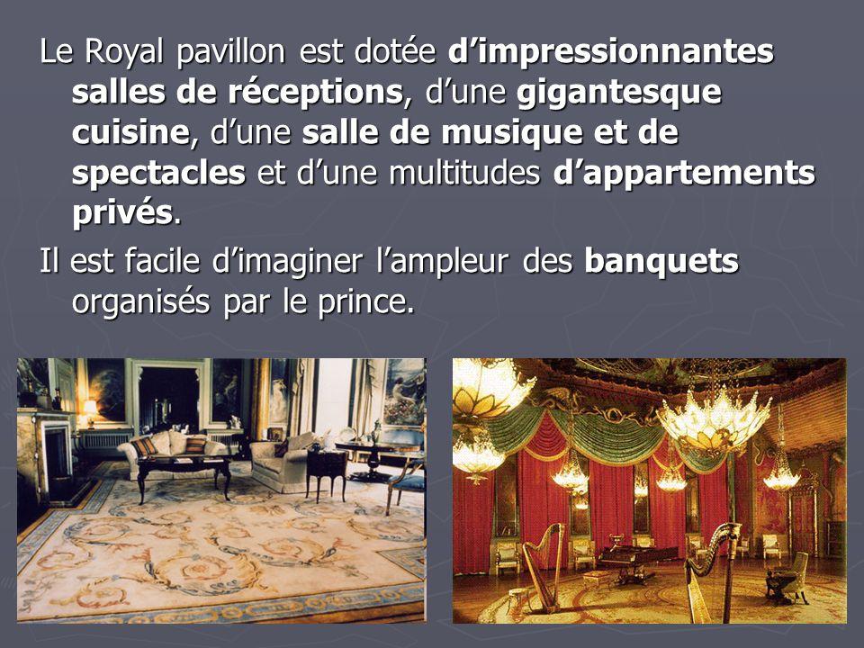Le Royal pavillon est dotée d'impressionnantes salles de réceptions, d'une gigantesque cuisine, d'une salle de musique et de spectacles et d'une multi