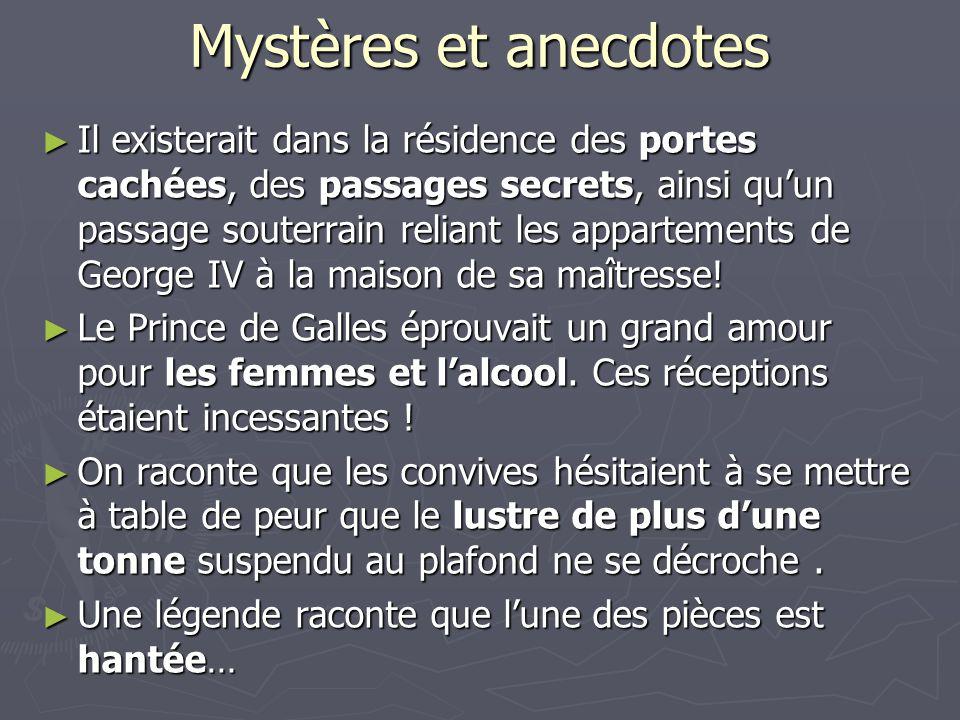 Mystères et anecdotes ► Il existerait dans la résidence des portes cachées, des passages secrets, ainsi qu'un passage souterrain reliant les apparteme