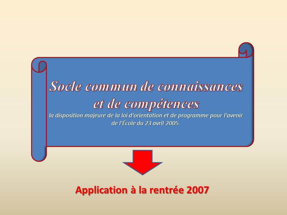 Application à la rentrée 2007