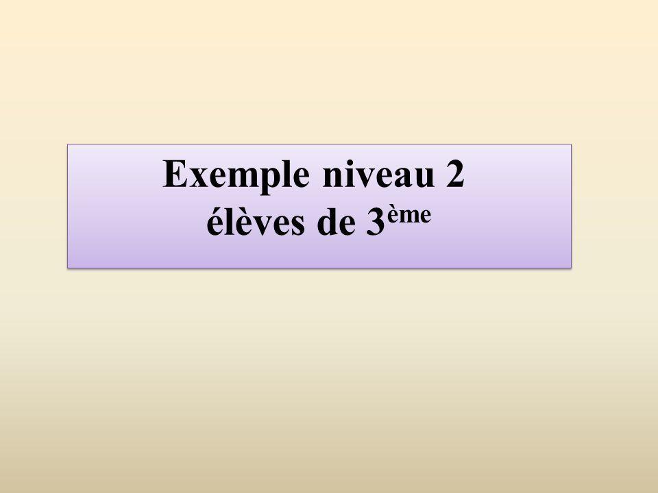 Exemple niveau 2 élèves de 3 ème Exemple niveau 2 élèves de 3 ème
