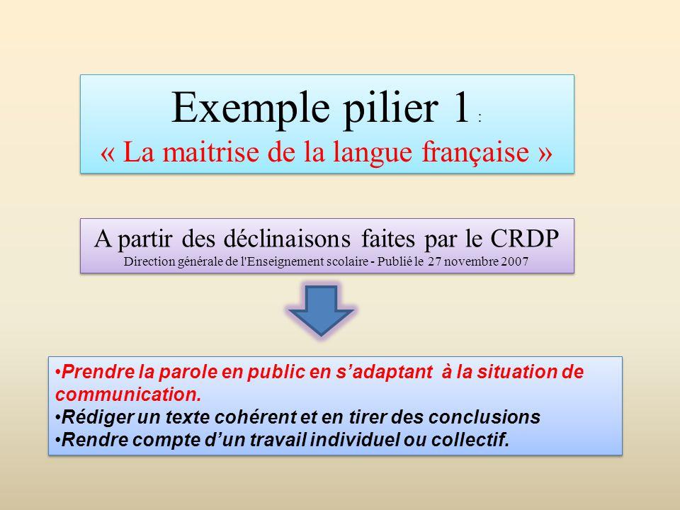 Exemple pilier 1 : « La maitrise de la langue française » Exemple pilier 1 : « La maitrise de la langue française » •Prendre la parole en public en s'