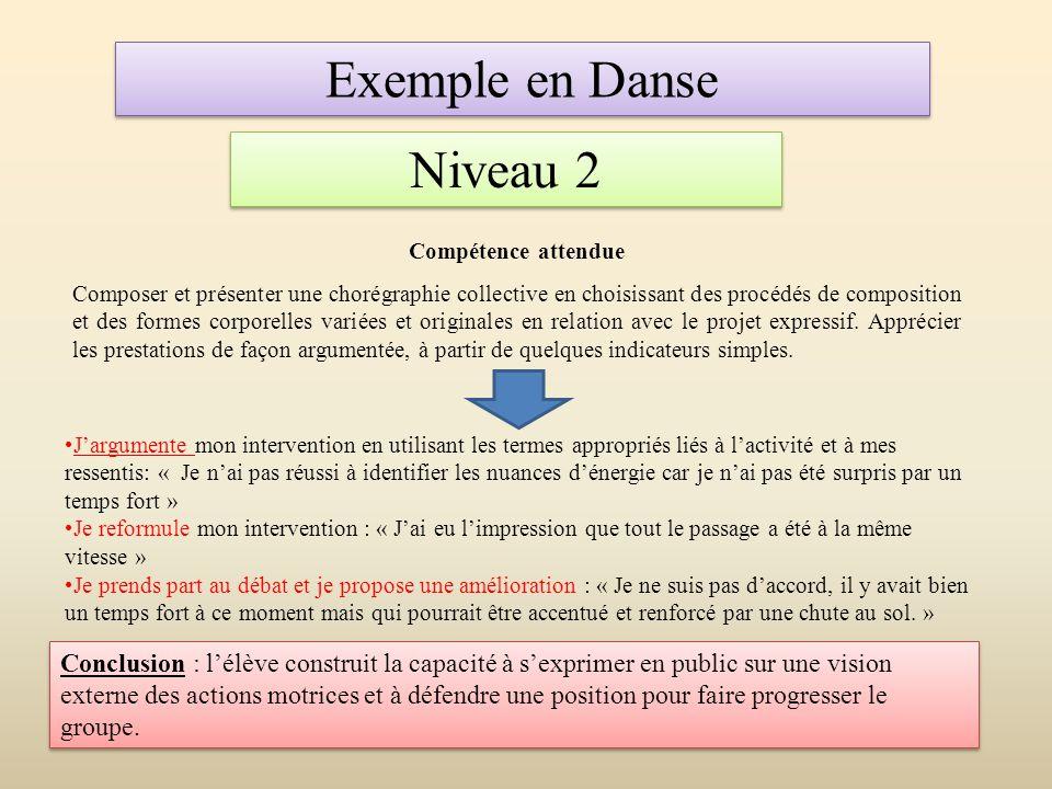 Exemple en Danse Niveau 2 Compétence attendue Composer et présenter une chorégraphie collective en choisissant des procédés de composition et des form