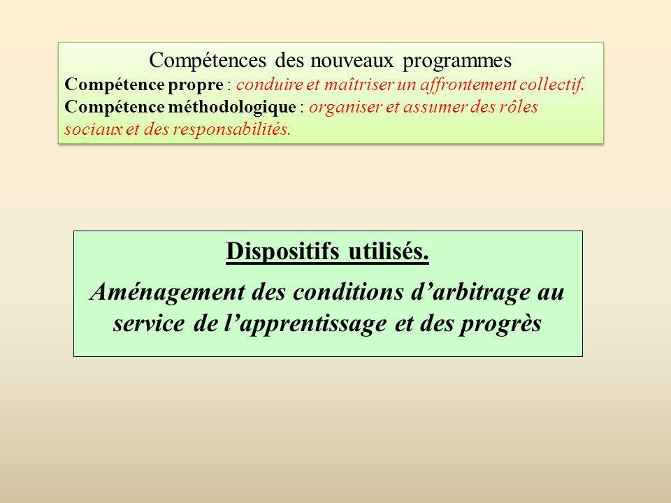 Dispositifs utilisés. Aménagement des conditions d'arbitrage au service de l'apprentissage et des progrès Compétences des nouveaux programmes Compéten