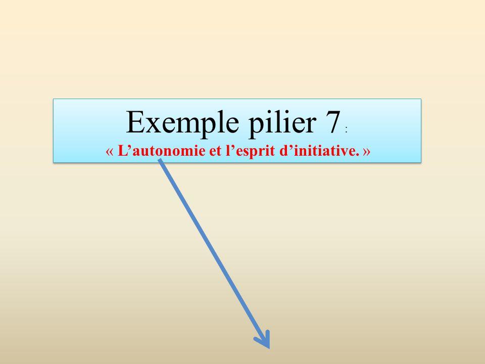 Exemple pilier 7 : « L'autonomie et l'esprit d'initiative. » Exemple pilier 7 : « L'autonomie et l'esprit d'initiative. »