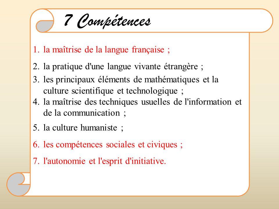 1.la maîtrise de la langue française ; 2.la pratique d'une langue vivante étrangère ; 3.les principaux éléments de mathématiques et la culture scienti