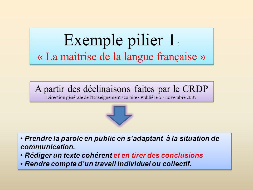Exemple pilier 1 : « La maitrise de la langue française » Exemple pilier 1 : « La maitrise de la langue française » A partir des déclinaisons faites p