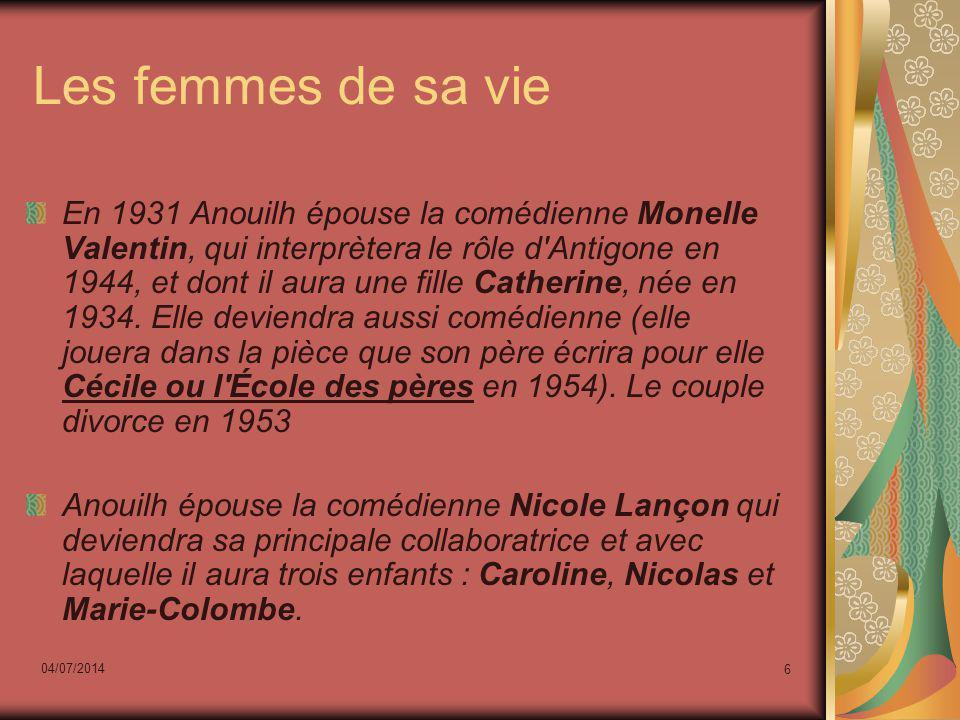 04/07/2014 6 Les femmes de sa vie En 1931 Anouilh épouse la comédienne Monelle Valentin, qui interprètera le rôle d'Antigone en 1944, et dont il aura