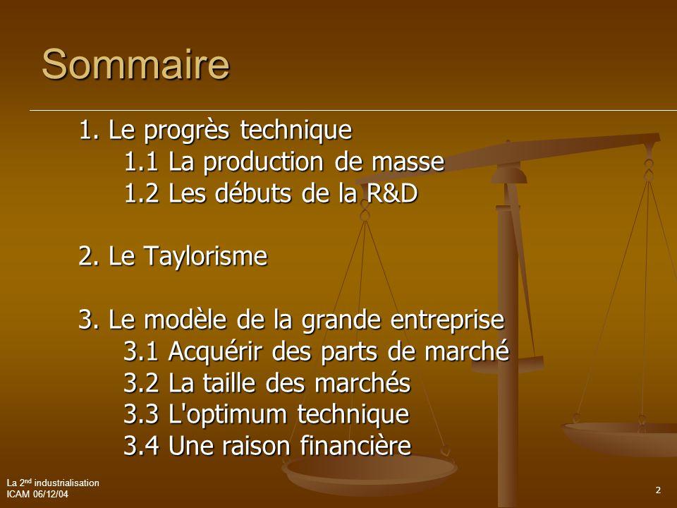 La 2 nd industrialisation ICAM 06/12/04 2 Sommaire 1. Le progrès technique 1.1 La production de masse 1.2 Les débuts de la R&D 2. Le Taylorisme 3. Le