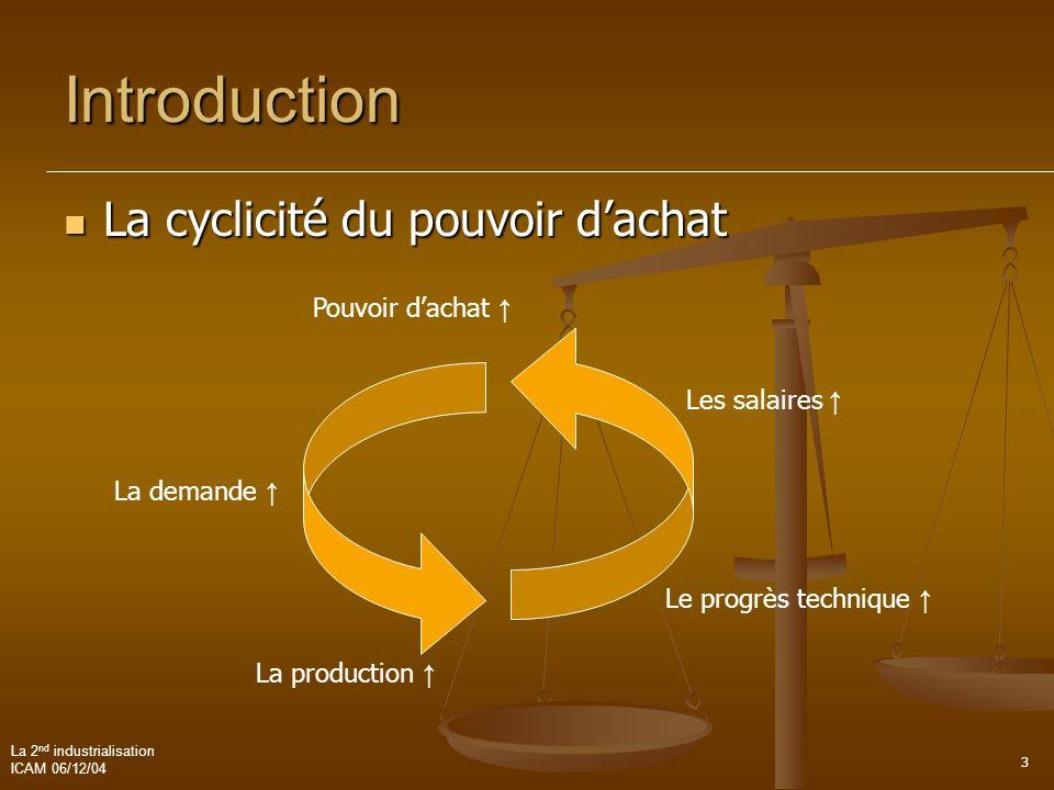 La 2 nd industrialisation ICAM 06/12/04 4 Introduction C'est la consommation qui produit la demande.  Mutations dans le monde de la production  La seconde révolution industrielle Interventionnisme de l état Production de masse Consommation de masse
