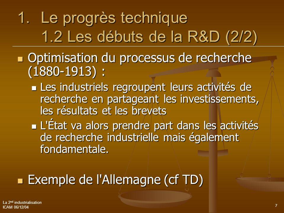 La 2 nd industrialisation ICAM 06/12/04 7 1.Le progrès technique 1.2 Les débuts de la R&D (2/2)  Optimisation du processus de recherche (1880-1913) :