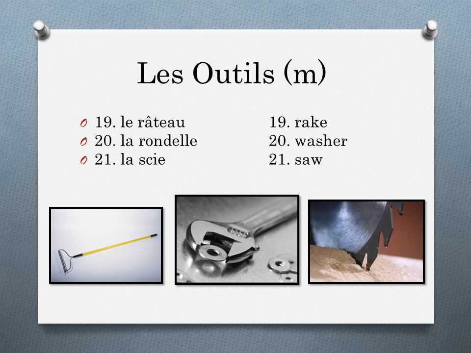 Les Outils (m) O 19. le râteau19. rake O 20. la rondelle20. washer O 21. la scie21. saw