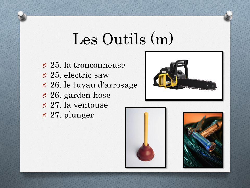 Les Outils (m) O 25. la tronçonneuse O 25. electric saw O 26.