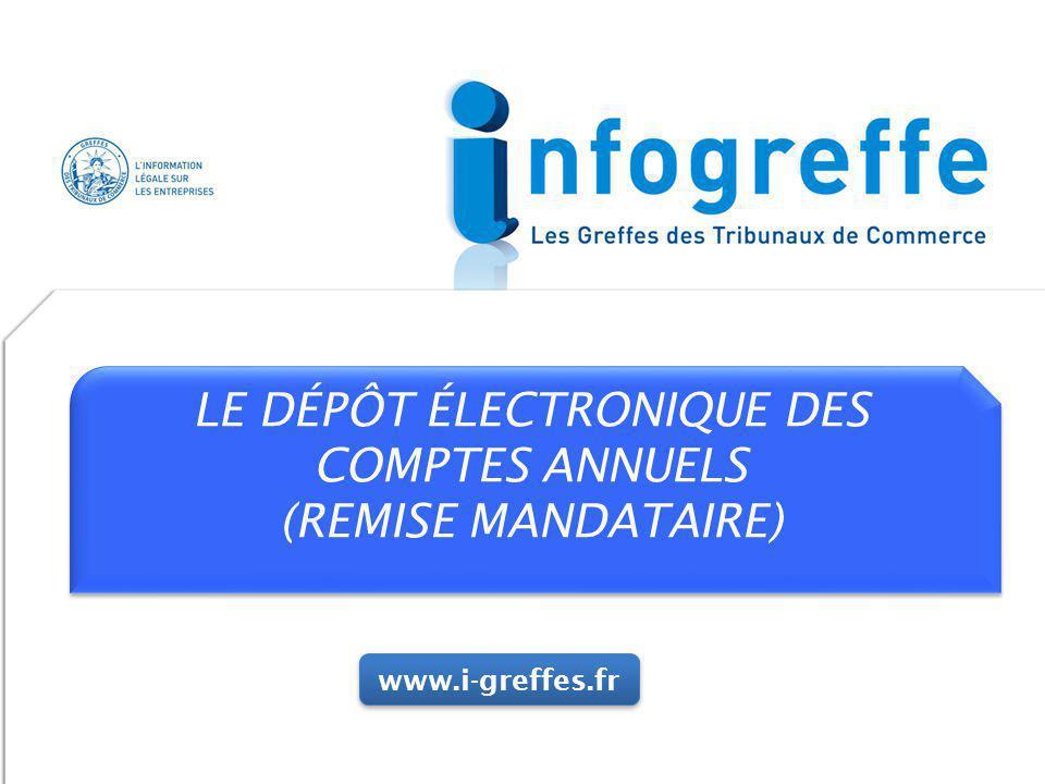 LE DÉPÔT ÉLECTRONIQUE DES COMPTES ANNUELS (REMISE MANDATAIRE) LE DÉPÔT ÉLECTRONIQUE DES COMPTES ANNUELS (REMISE MANDATAIRE) www.i-greffes.fr