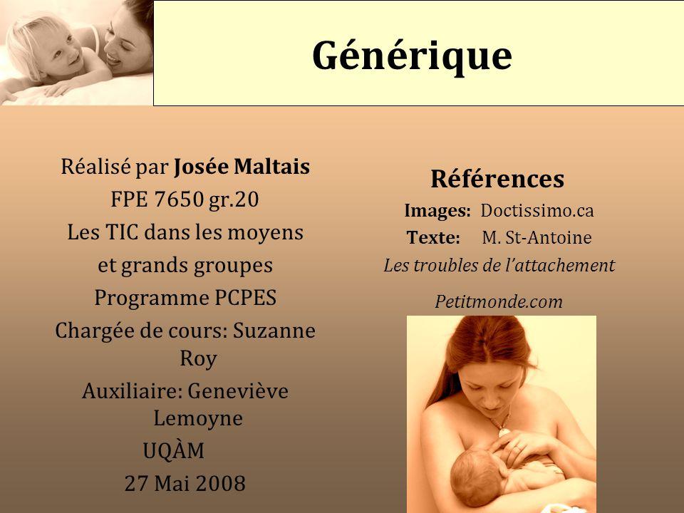 Réalisé par Josée Maltais FPE 7650 gr.20 Les TIC dans les moyens et grands groupes Programme PCPES Chargée de cours: Suzanne Roy Auxiliaire: Geneviève
