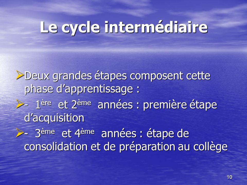 10 Le cycle intermédiaire  Deux grandes étapes composent cette phase d'apprentissage :  - 1 ère et 2 ème années : première étape d'acquisition  - 3