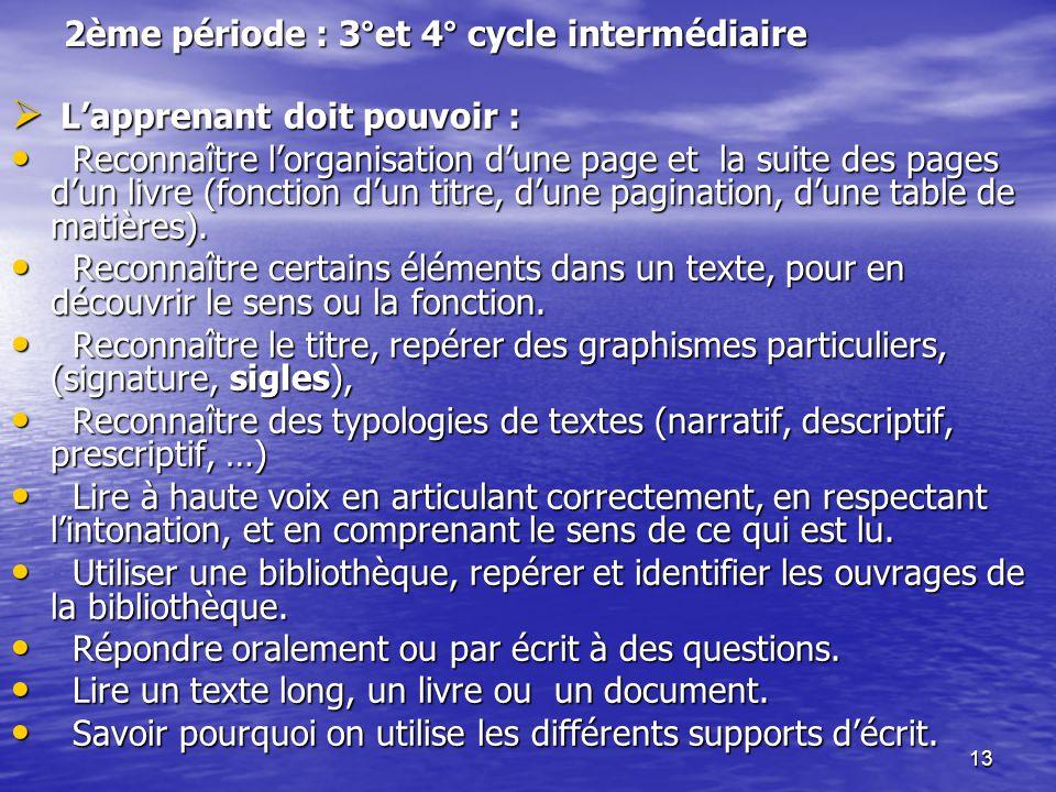 13 2ème période : 3°et 4° cycle intermédiaire  L'apprenant doit pouvoir : • Reconnaître l'organisation d'une page et la suite des pages d'un livre (f