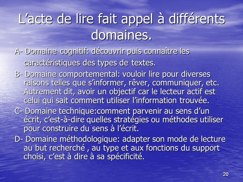 20 L'acte de lire fait appel à différents domaines. A- Domaine cognitif: découvrir puis connaître les caractéristiques des types de textes. B- Domaine