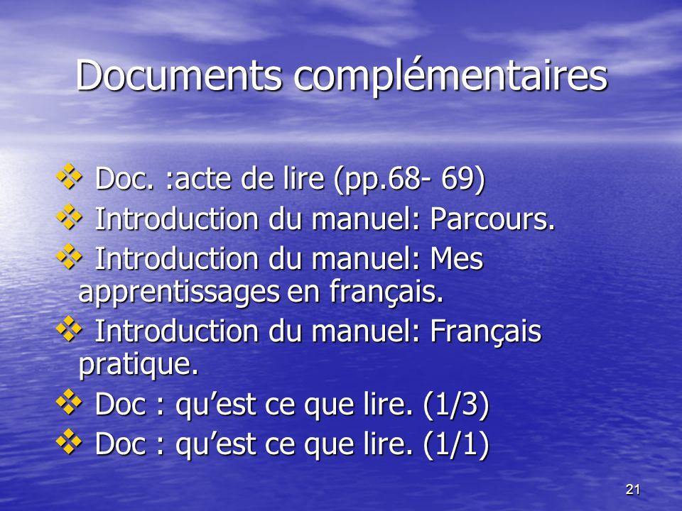 21 Documents complémentaires  Doc. :acte de lire (pp.68- 69)  Introduction du manuel: Parcours.  Introduction du manuel: Mes apprentissages en fran
