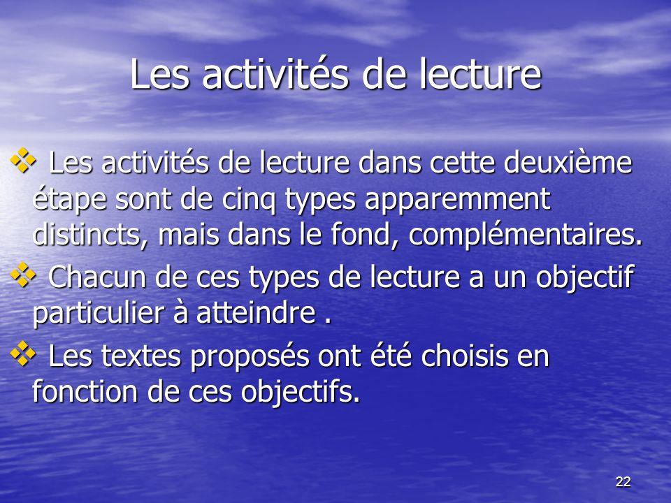 22 Les activités de lecture  Les activités de lecture dans cette deuxième étape sont de cinq types apparemment distincts, mais dans le fond, compléme
