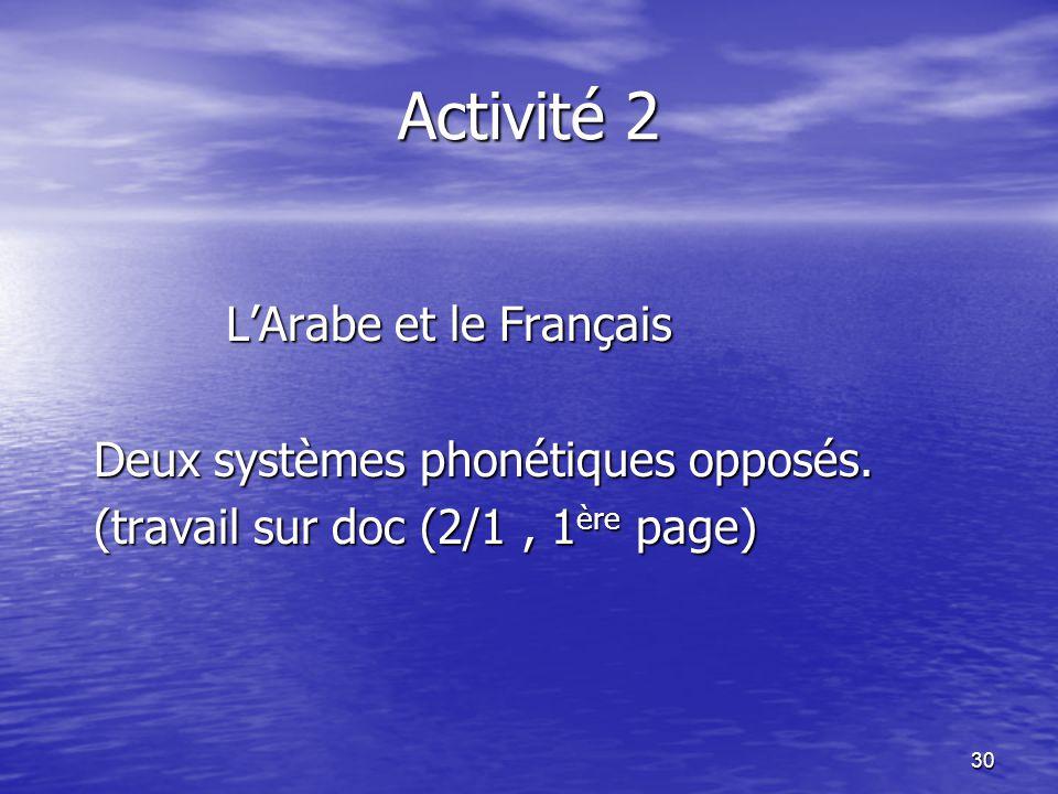 30 Activité 2 L'Arabe et le Français L'Arabe et le Français Deux systèmes phonétiques opposés. Deux systèmes phonétiques opposés. (travail sur doc (2/