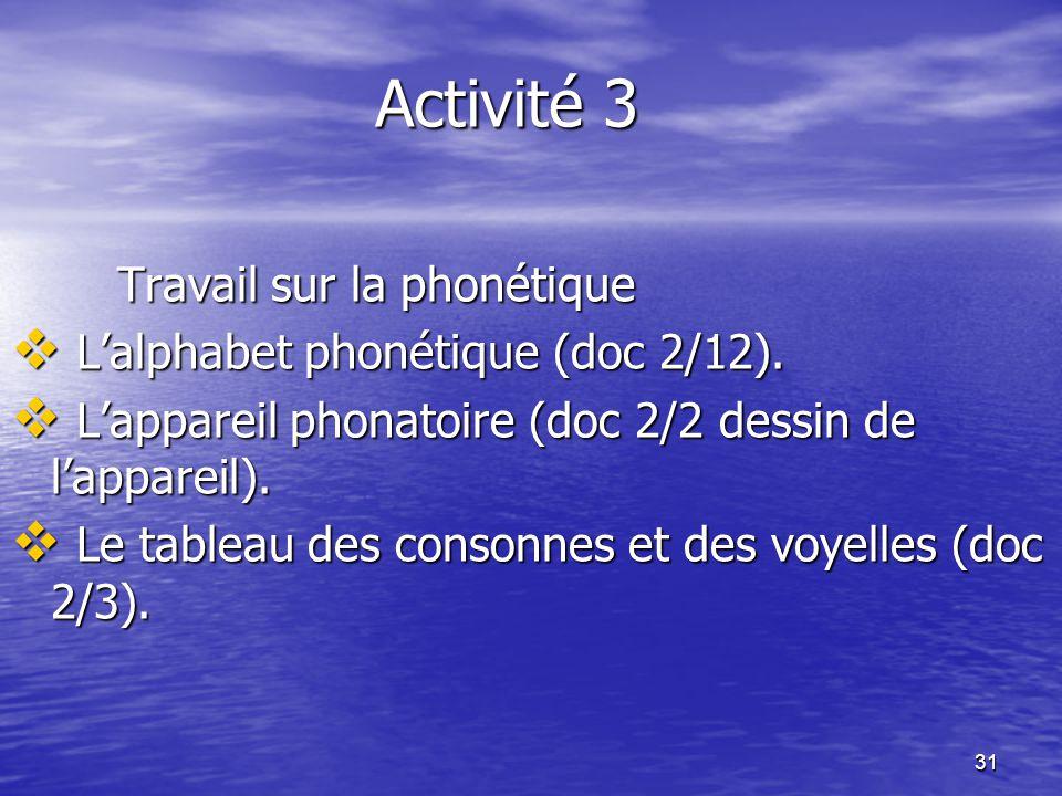 31 Activité 3 Travail sur la phonétique  L'alphabet phonétique (doc 2/12).  L'appareil phonatoire (doc 2/2 dessin de l'appareil).  Le tableau des c