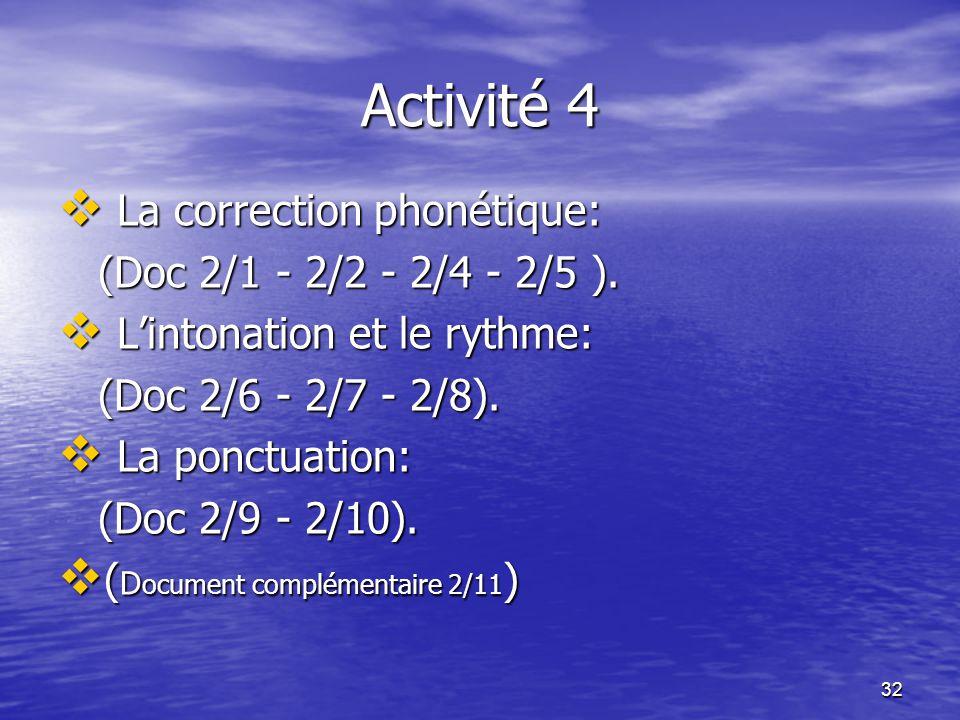 32 Activité 4  La correction phonétique: (Doc 2/1 - 2/2 - 2/4 - 2/5 ). (Doc 2/1 - 2/2 - 2/4 - 2/5 ).  L'intonation et le rythme: (Doc 2/6 - 2/7 - 2/