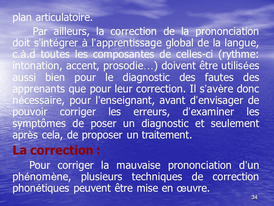34 plan articulatoire. Par ailleurs, la correction de la prononciation doit s ' int é grer à l ' apprentissage global de la langue, c. à.d toutes les