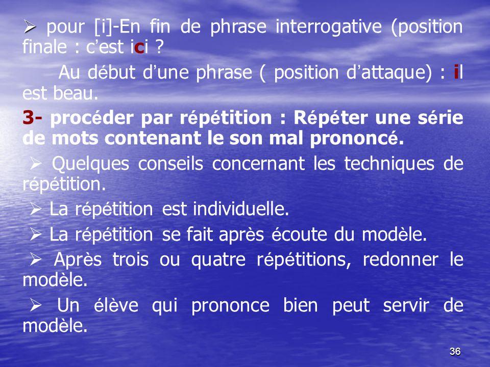 36   pour [i]-En fin de phrase interrogative (position finale : c ' est ici ? Au d é but d ' une phrase ( position d ' attaque) : il est beau. 3- pr