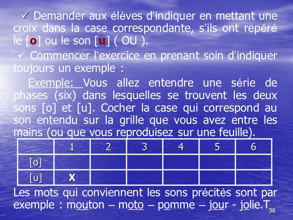 38   Demander aux é l è ves d ' indiquer en mettant une croix dans la case correspondante, s ' ils ont rep é r é le [o] ou le son [u] ( OU ).  Comm