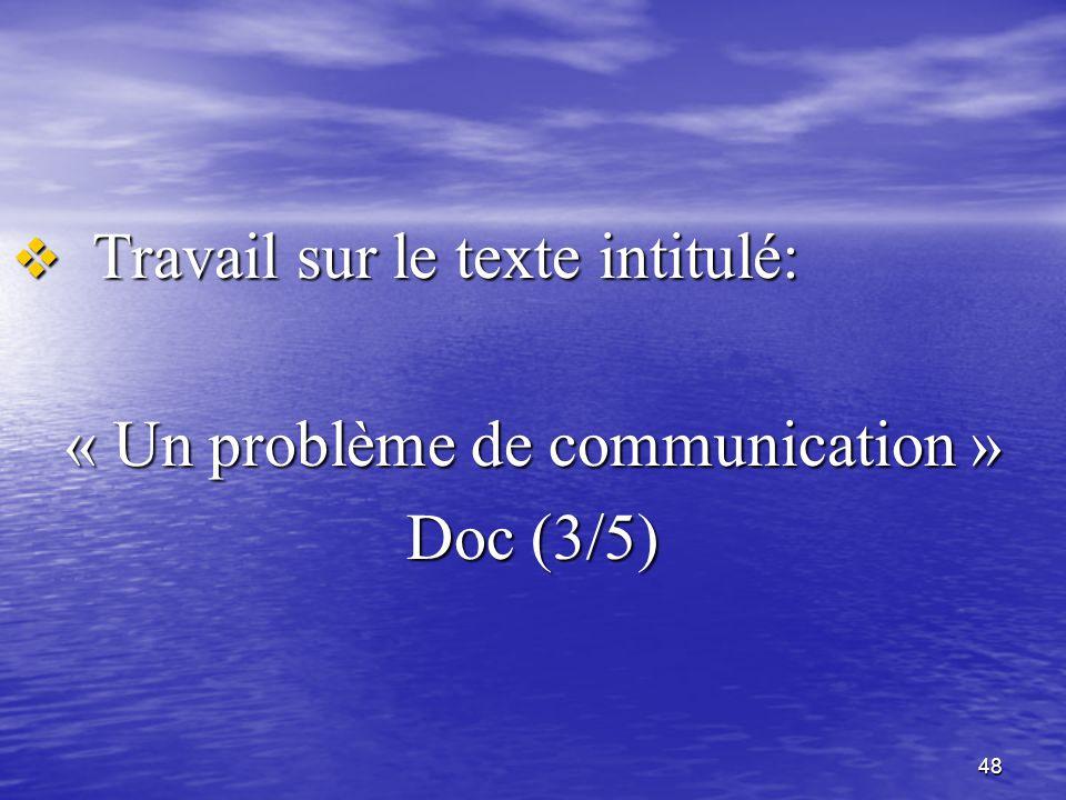48  Travail sur le texte intitulé: « Un problème de communication » Doc (3/5)