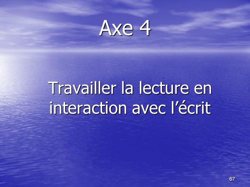 67 Axe 4 Travailler la lecture en interaction avec l'écrit Travailler la lecture en interaction avec l'écrit