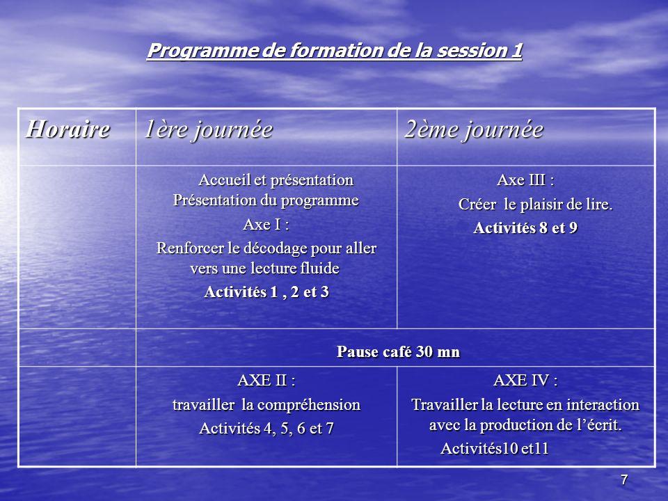 7 Programme de formation de la session 1 Horaire 1ère journée 2ème journée Accueil et présentation Présentation du programme Accueil et présentation P
