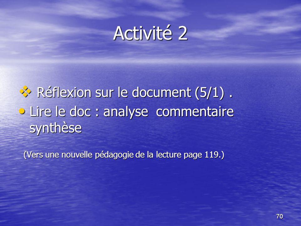 70 Activité 2  Réflexion sur le document (5/1). • Lire le doc : analyse commentaire synthèse (Vers une nouvelle pédagogie de la lecture page 119.) (V